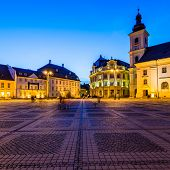 stock photo of sibiu  - large square in Sibiu Transylvania Romania at night - JPG