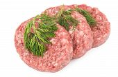 picture of ground-beef  - Raw meatballs of ground beef with dill isolated on white background - JPG