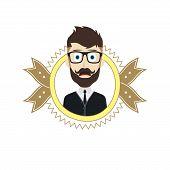 image of geek  - geek male cartoon theme vector art illustration - JPG