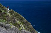 stock photo of cliffs  - Makapuu lighthouse on a cliff in Oahu Hawaii showing the path to the lighthouse along the cliff - JPG