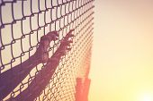 foto of chain link fence  - Hand holding on chain link fence Vintage filter effect - JPG