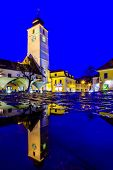 picture of sibiu  - council tower in Sibiu Transylvania Romania at night with reflection after rain - JPG