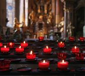 pic of taper  - Burning tapers in a church. Focus on the foreground (on the candles). ** Note: Soft Focus at 100%, best at smaller sizes - JPG