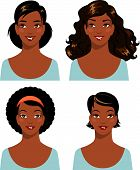 image of african american hair styles  - African american young beautiful woman faces isolated on white background - JPG