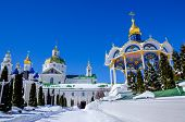image of altar  - Summer altar and domes of Dormition Cathedral are in Pochaev lavra - JPG