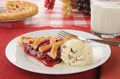 image of cherry pie  - A slice of cherry pie with chocolate chip ice cream and milk - JPG