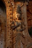 image of guardian  - Guardian spirit on the walls of an ancient stupa at In Dein Inle Lake Myanmar  - JPG