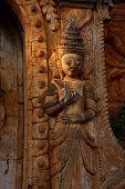 foto of guardian  - Guardian spirit on the walls of an ancient stupa at In Dein Inle Lake Myanmar  - JPG