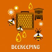 stock photo of honey bee hive  - Beekeeping concept in flat style showing beehive - JPG