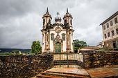 stock photo of assis  - View of the Igreja de Sao Francisco de Assis of the unesco world heritage city of ouro preto View of the Igreja de Sao Francisco de Assis of the unesco world heritage city of ouro preto - JPG