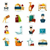 picture of maids  - Hotel maid icons set with room service cleaning and washing symbols isolated vector illustration - JPG