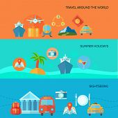 foto of passport template  - Travel horizontal banner set with summer holidays sightseeing elements isolated vector illustration - JPG