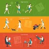 picture of average man  - Physical activity horizontal banners set with high average and low elements isolated vector illustration - JPG