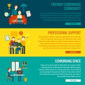 pic of coworkers  - Coworking space center banner set with friendly community professional support elements isolated vector illustration - JPG