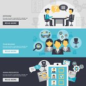 image of team building  - Human resources horizontal banner set with interview team building elements isolated vector illustration - JPG