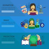 picture of divine  - Fortune teller horizontal banner set with divination and magic prediction flat elements isolated vector illustration - JPG