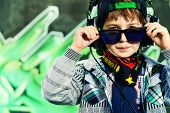 picture of 7-year-old  - Trendy 7 year old boy on the street - JPG