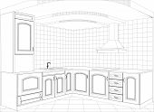 pic of interior sketch  - Kitchen vector sketch interior - JPG