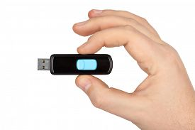 picture of flashing  - Flash usb memory drive in hand isolated on white background - JPG