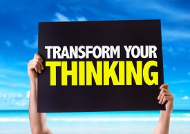 stock photo of transformation  - Transform Your Thinking card with beach background - JPG