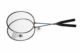 picture of shuttlecock  - Badminton rackets and shuttlecock isolated on white background