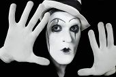 Face And Hands Of Mime With Dark Make-up