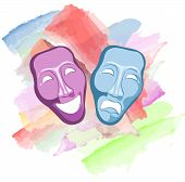 stock photo of comedy  - theater comedy and tragedy masks on the colorful background - JPG