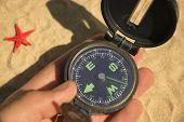 Compasshandred Star On Sand