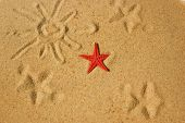 Red Star And Trace Of Sun And Star