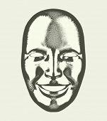 Engraving retro  mask vectror illustration. Eps 10.