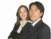 Confident Business Couple Wearing Glasses poster