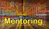 stock photo of mentoring  - Background concept wordcloud illustration of mentoring glowing light - JPG