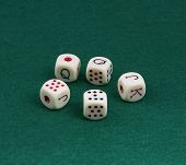Five Dice For The Game Of Poker.