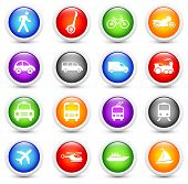 Transportation Icon on Reflective Button Collection Original Illustration