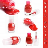 Red nail polish isolated on a white background