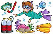 Scuba diving collection - vector illustration.