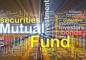 Background concept wordcloud illustration of mutual fund glowing light