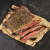 Restaurant Grilled Food - Delicious Grilled Pepper Steak. Gourmet Restaurant Steak Menu. Pepper Stea poster