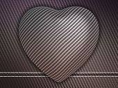 Carbon Fibre Heart On Stetiched Background
