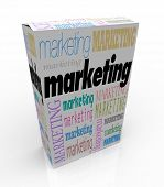 A product box with with the word Marketing calling attention to it, symbolizing the power of adverti