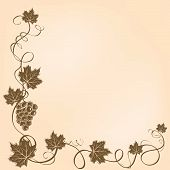 picture of grape-vine  - Corner frame with grapes and leaves - JPG