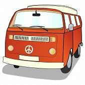 stock photo of campervan  - Campervan in simple illustrated style with ban the bomb CND sign - JPG