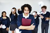 Depressed student torturing from school bullying poster