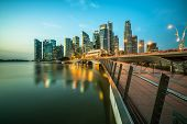 Singapore Central Business District Skyline At Blue Hour poster