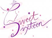 stock photo of sweet sixteen  - Text Featuring the Words Sweet Sixteen - JPG
