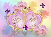 stock photo of sweet sixteen  - Image and illustration composition of Gold hearts - JPG