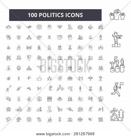 Politics Editable Line Icons 100