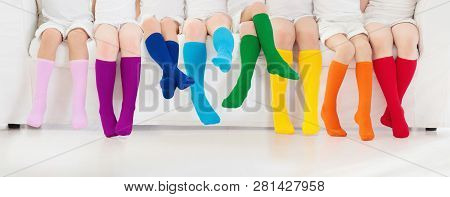 Kids With Colorful Socks Children