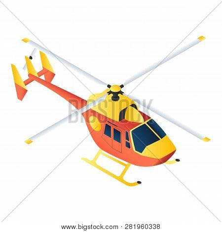 Rescue Helicopter Icon Isometric Of