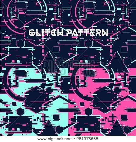 Glitchy Seamless Pattern Abstract Texture